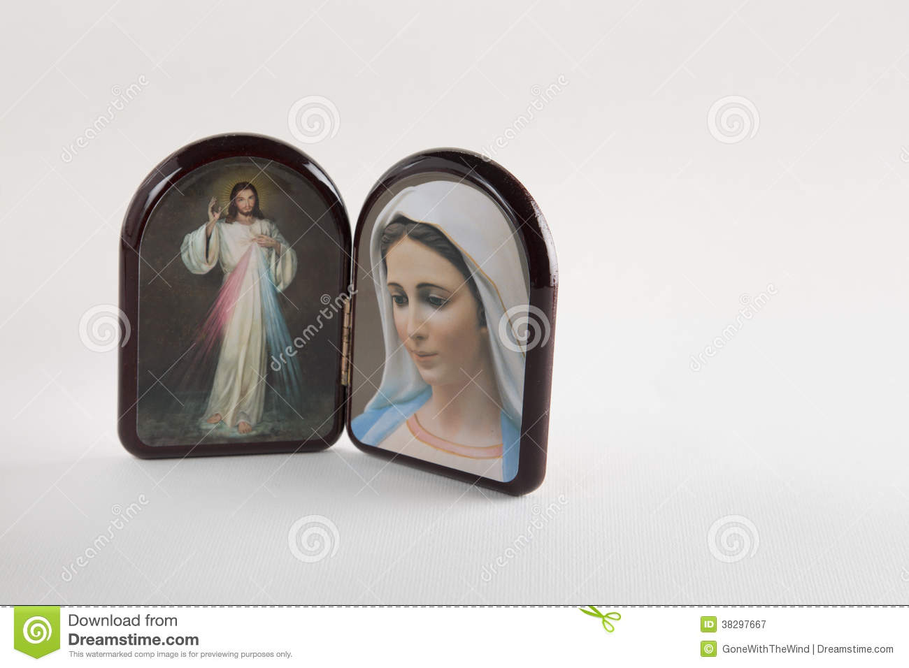 Merciful Jesus And Our Lady Of Medjugorje Icons Royalty Free Stock.