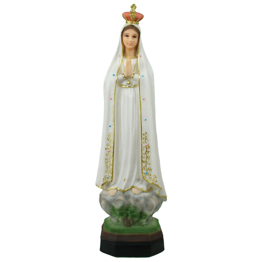 """Our Lady of Fatima Statue in Crushed Stone (17"""")."""