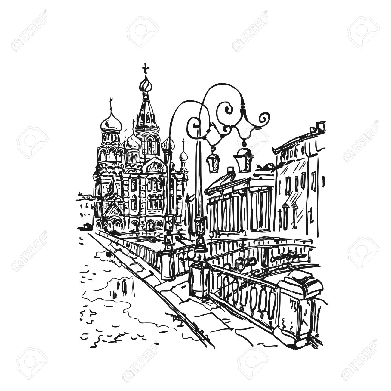 Sketch Church On Spilled Blood Or Resurrection Church Of Our.