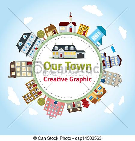 Clip Art Vector of Our Town with Lovely House Icons csp14503563.