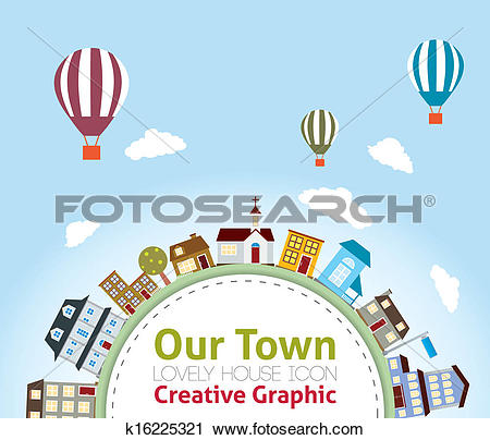 Clipart of Our Town with Lovely House Icons (h k16225321.