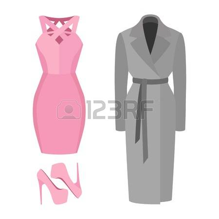 Ladies coats and dress clothes clipart.