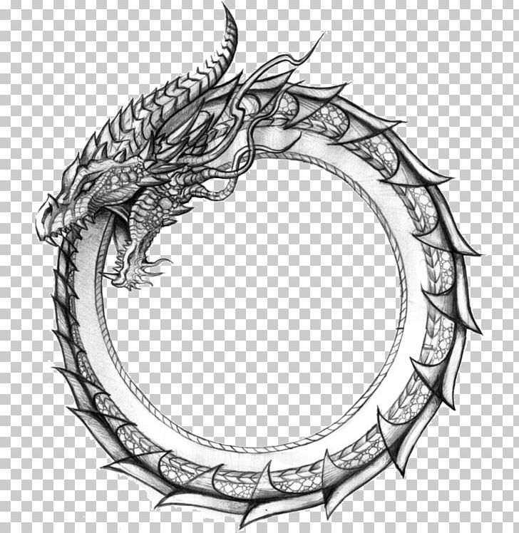 Ouroboros Dragon Symbol Jörmungandr Snake PNG, Clipart.