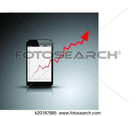 Clipart of Realistic out of bounds business growth graph k20187885.