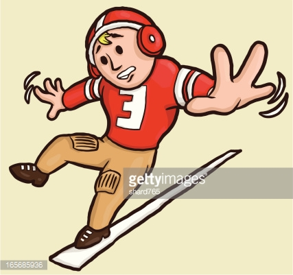 Vintage Football Player Falling Out Of Bounds Vector Art.