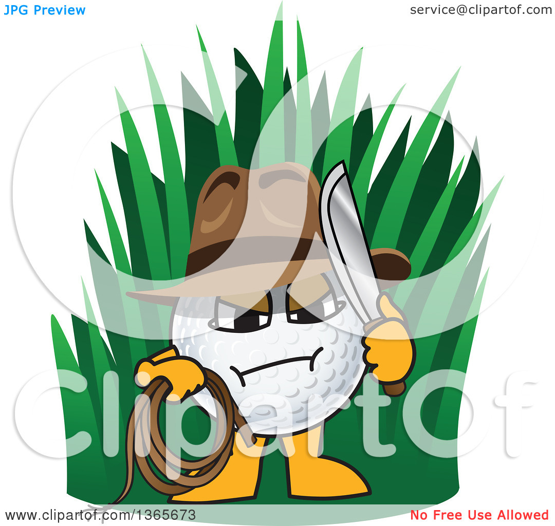Clipart of an out of Bounds Golf Ball Sports Mascot Character.