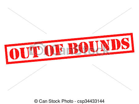 Drawing of OUT OF BOUNDS red Rubber Stamp over a white background.