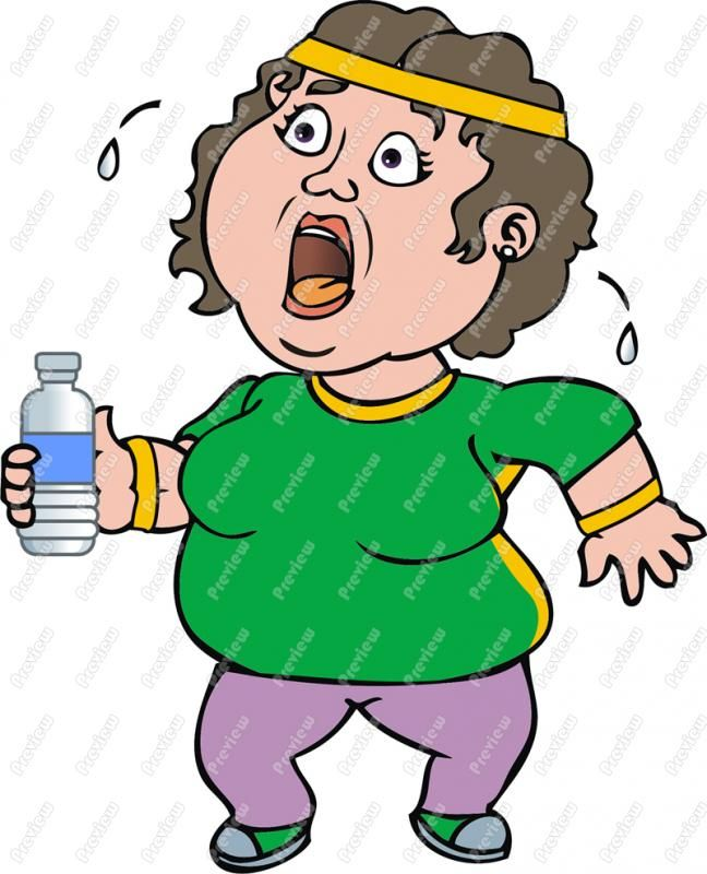 Fat Girl Out Of Breath Excersing Clip Art.