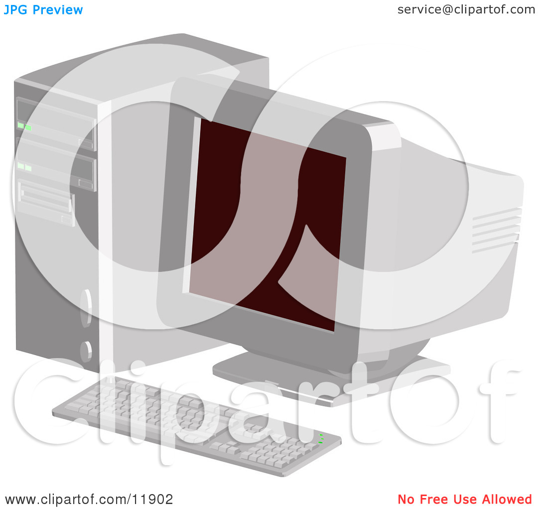 Out of Date Desktop Computer With a CRT Screen Clipart.
