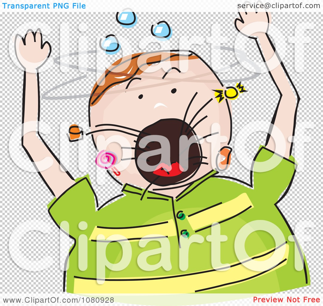 Clipart Chubby Boy Screaming And Candy Flying Out Of His Mouth.
