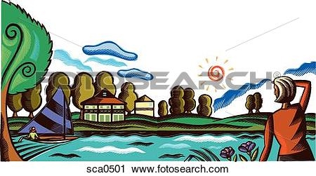 Clipart of A woman looking out into the distance across a lake.