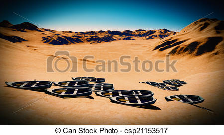 Clipart of dried out lake with boats.