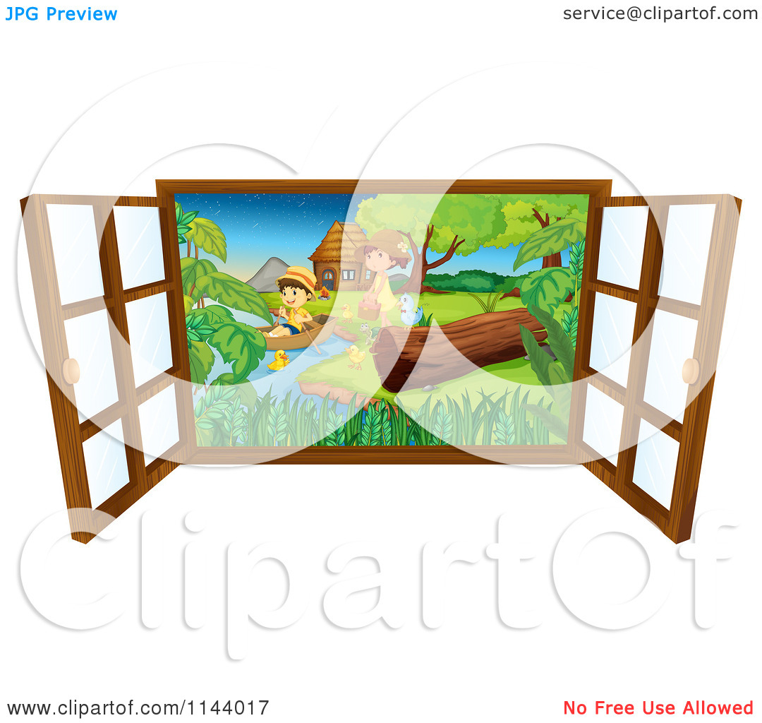 Cartoon Of A Window Looking Out At Children On A Lake Shore.