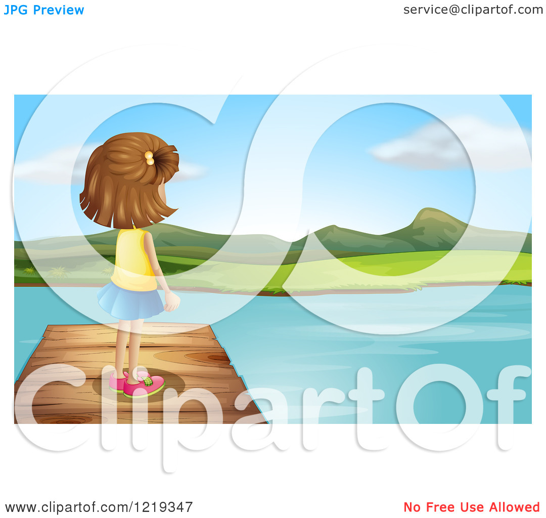 Cartoon of a Girl Standing on a Dock and Gazing out at a Lake.
