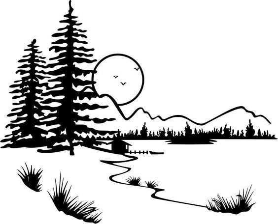 Lake Clip Art Black and White.