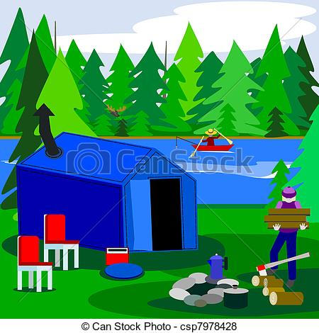 Vector of Camping with a moose.