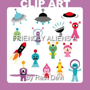 Clipart Friendly Aliens A.