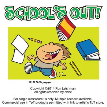 School's Out Cartoon Clipart.