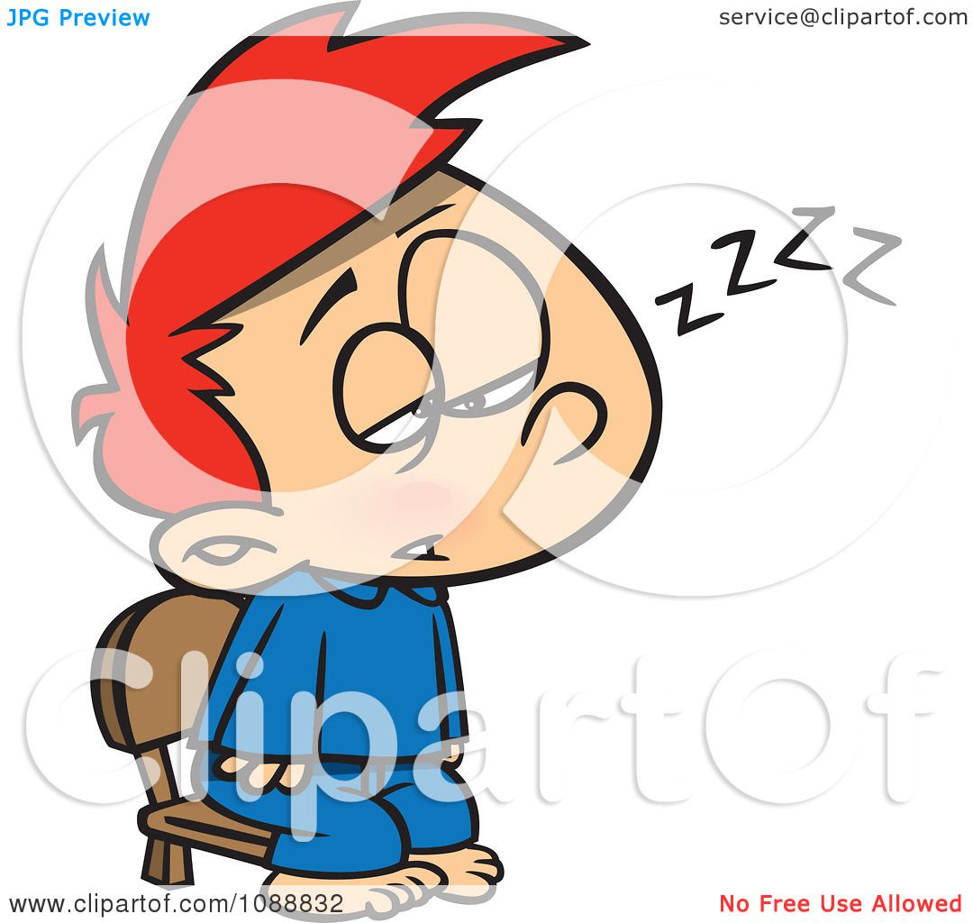 Clipart Exhausted Boy Trying To Stay Awake To See Santa.