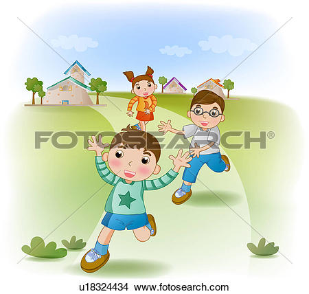 Stock Illustration of Boy and Girl Playing Outside u15010086.