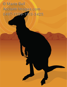 Kangaroo with Joey In Her Pouch on the Outback Clipart Image.