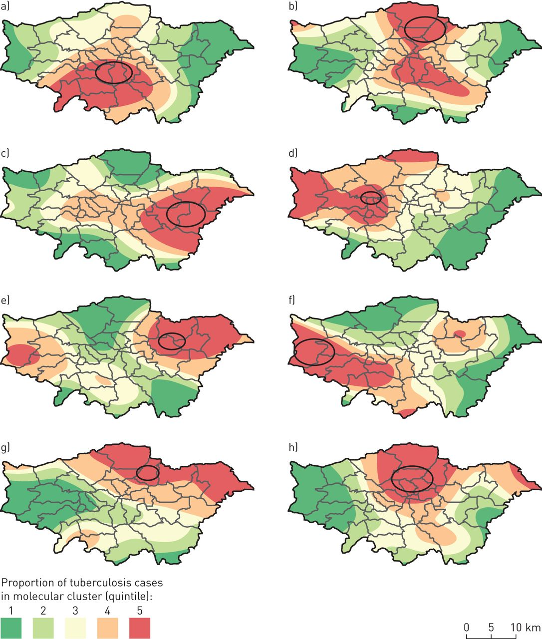 Multiple large clusters of tuberculosis in London: a cross.