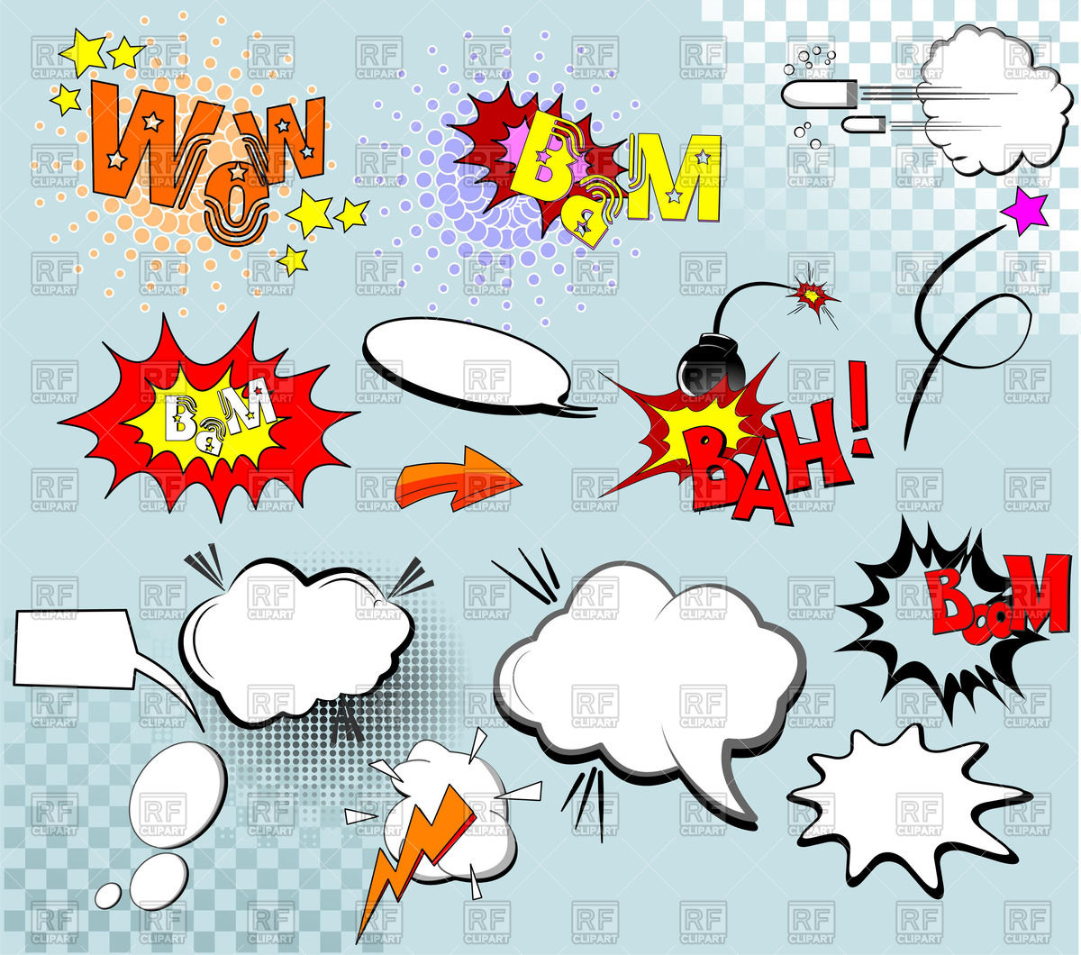 Cartoon explosions, outbreaks and splashes Vector Image #55763.