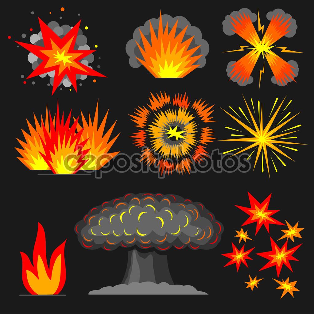 Set cartoon explosions. — Stock Vector © denisik11 #91851370.