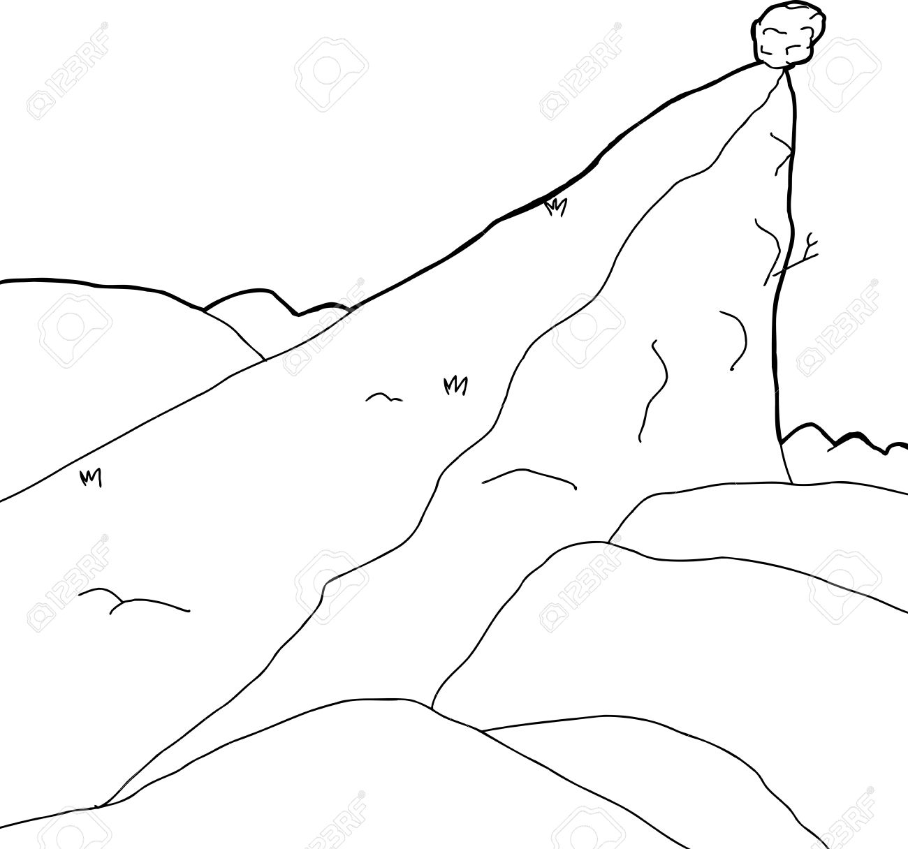 Outlined Rock Outcropping In With Boulder Cartoon Background.
