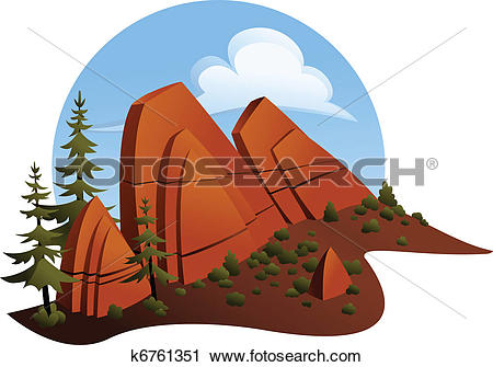 Clipart of Red Sandstone Outcropping k6761351.