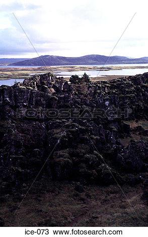 Stock Photo of Volcanic Outcrops Pingvellir National Park Iceland.