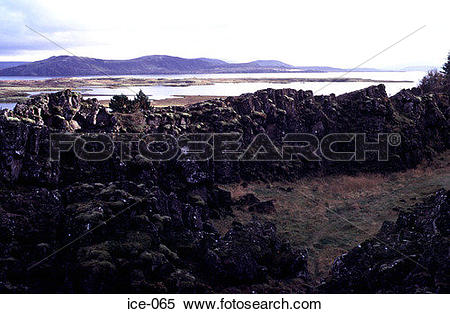 Stock Image of Volcanic Outcrops Pingvellir National Park Iceland.