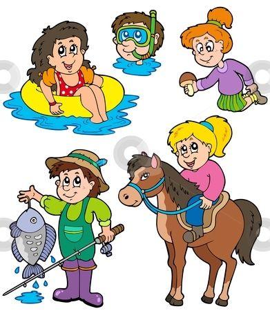 Summer kids activities collection stock vector.