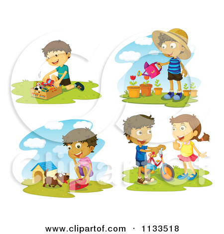 Cartoon Of Children Doing Outdoor Activities.