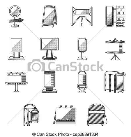 Vectors of Flat line vector icons for outdoor advertising and.