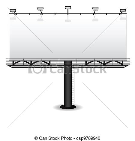 Vector Clipart of Outdoor advertising billboard isolated on white.
