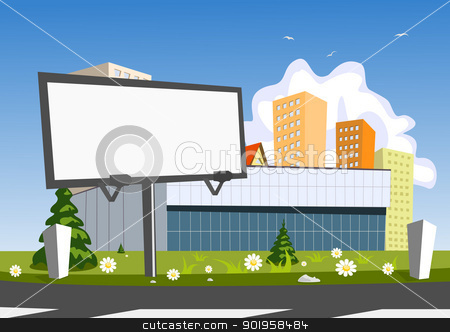 Billboard advertising and store stock vector.