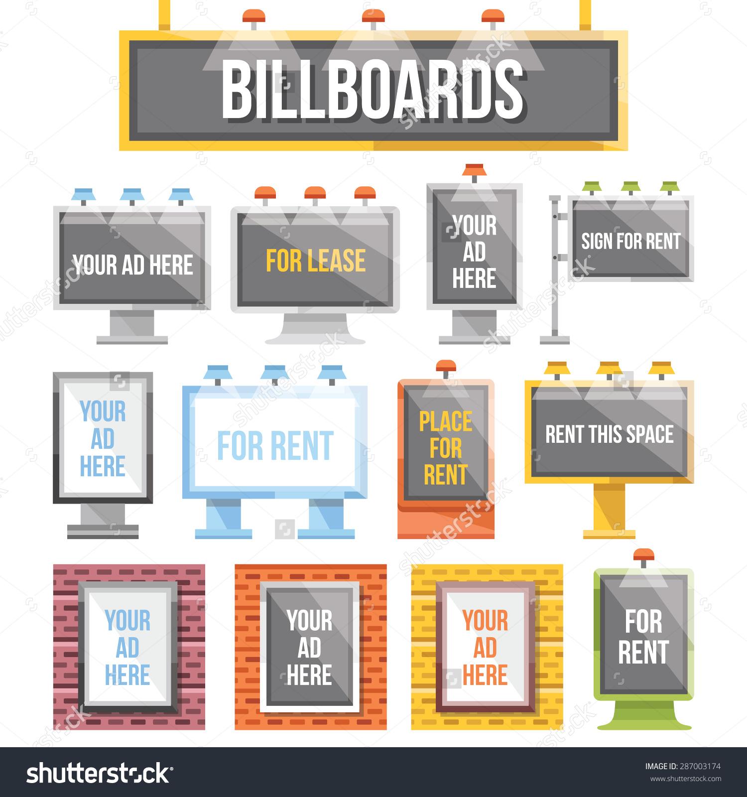 Trendy Flat Billboards Outdoor Advertising Set Stock Vector.