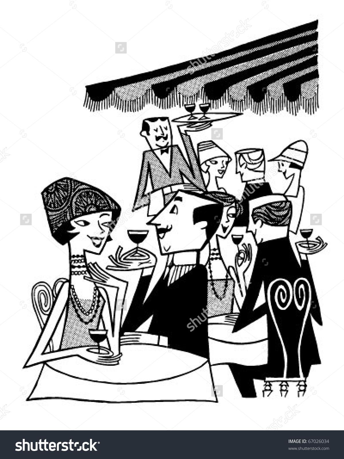 Outdoor Cafe Scene Retro Clipart Illustration Stock Vector.