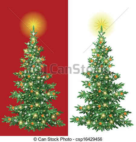 Clipart Vector of Christmas tree with decorations.