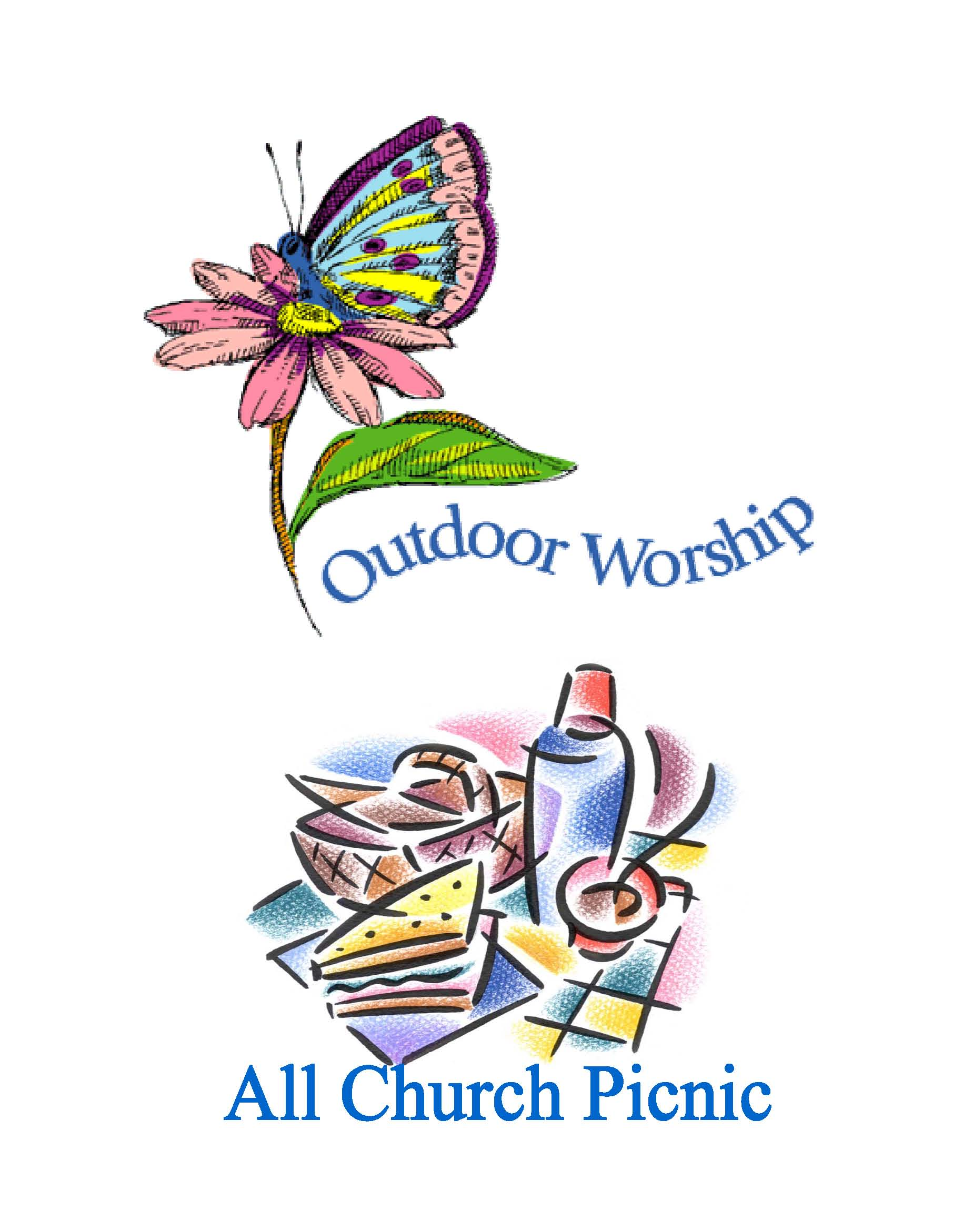 Outdoor Church Service Clipart.