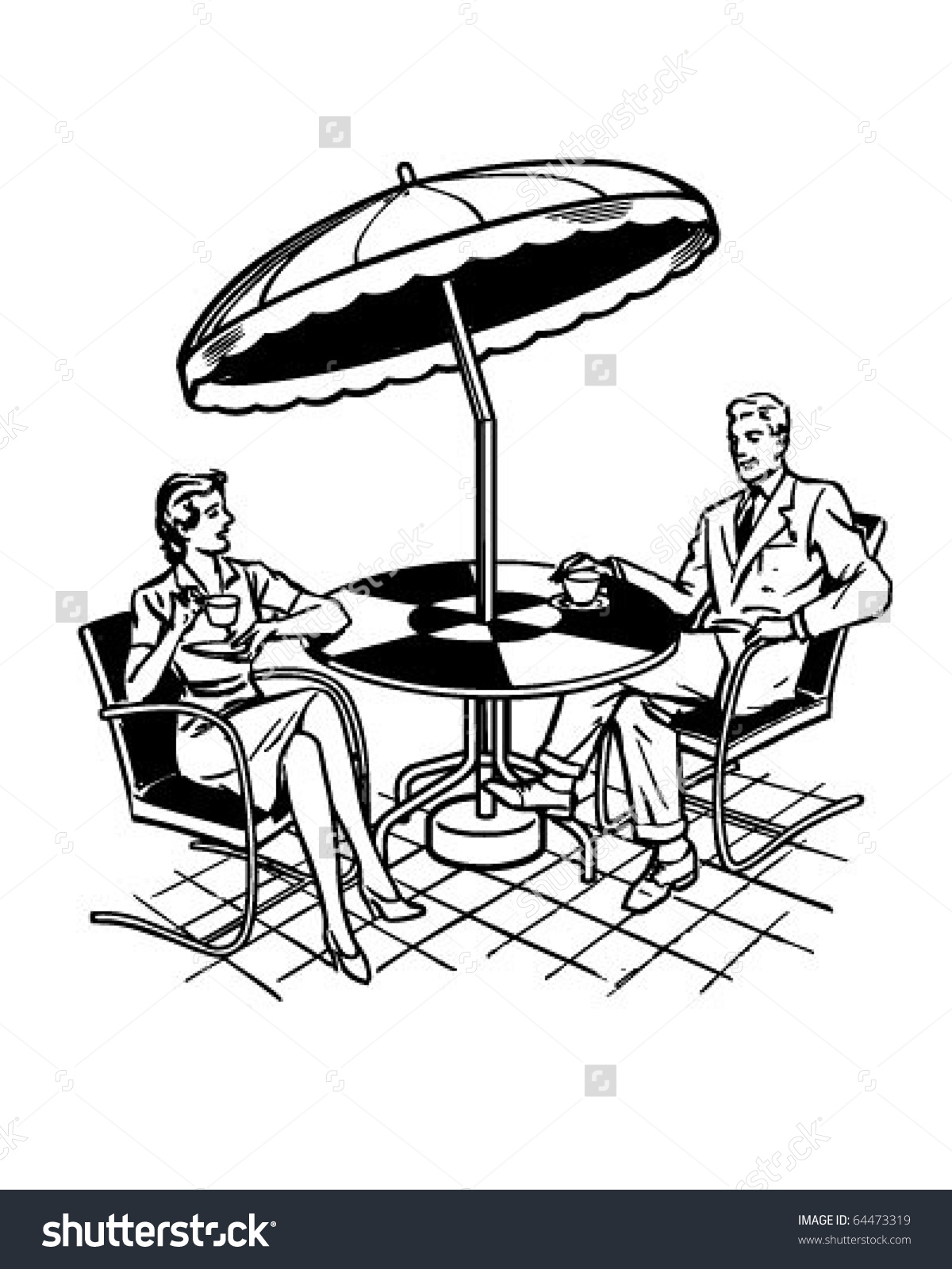 Couple Sitting On Patio Retro Clipart Stock Vector 64473319.