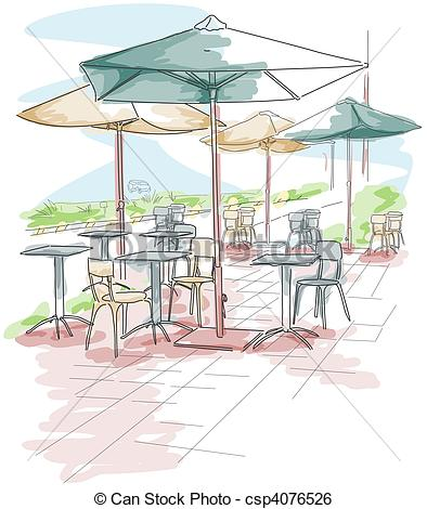 Stock Illustration of Outdoor Dining.