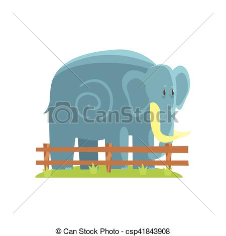 Vector Clipart of Simplified Blue Elephant Standing On Green Grass.