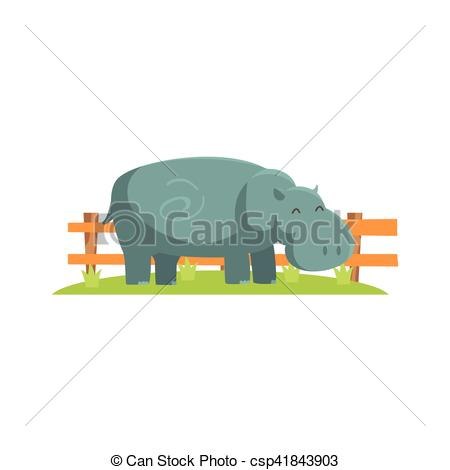 Vector Clipart of Relaxed Grey Hippo Standing On Green Grass Patch.