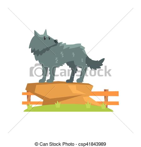 Vector of Grey Wolf Standing On Large Rock On Green Grass Patch In.