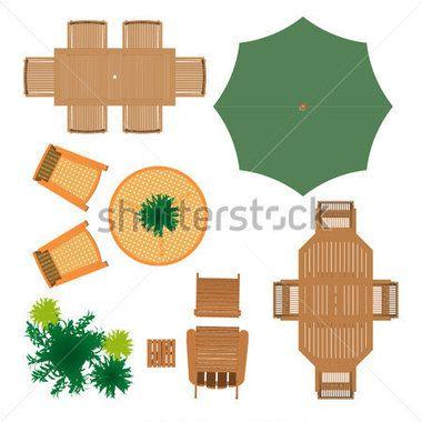 Outdoor Furniture for Landscape Design stock vector.