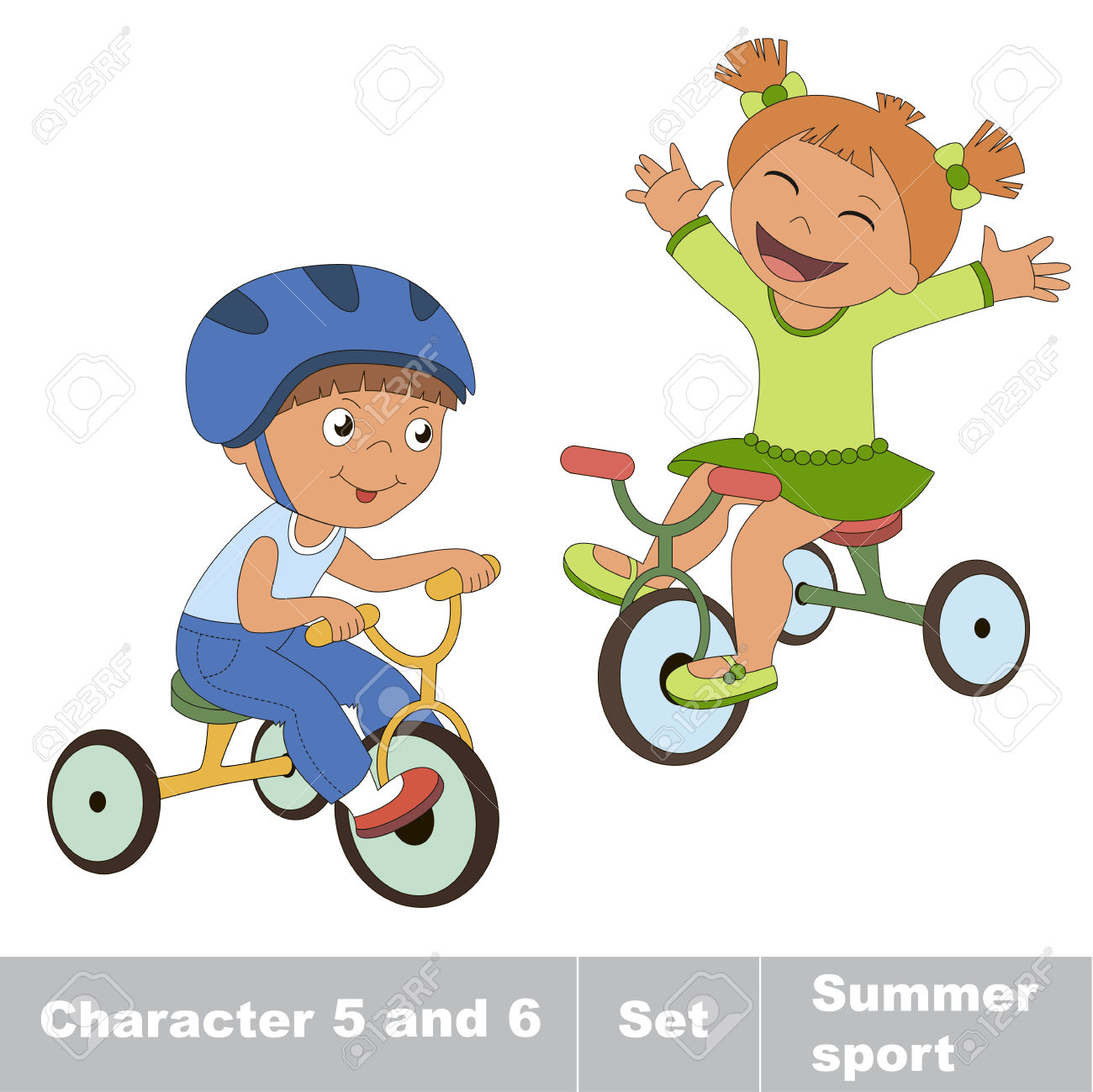 Two Baby Boy And Girl Ride A Bike. Summer Outdoor Games For.