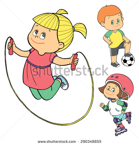 Set Kids Sport Outdoor Activities Football Stock Vector 290348855.