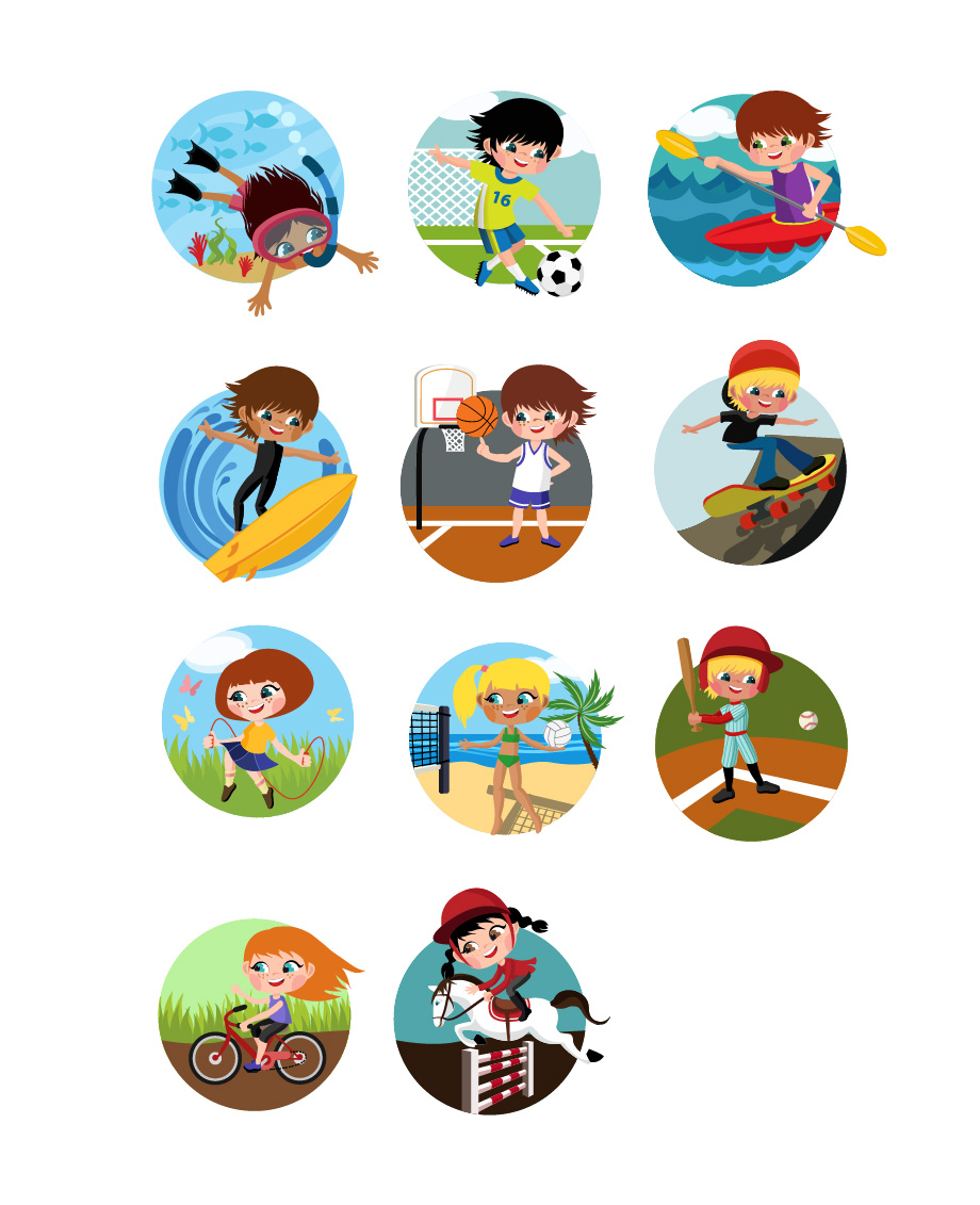 Outdoor Kids Activities Vector Image #kids #games #playing http.